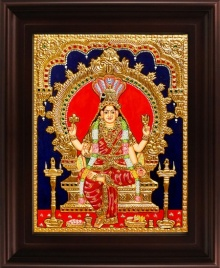 Traditional Indian art title Renuka Devi Tanjore Painting on Plywood - Tanjore Paintings