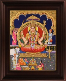 Traditional Indian art title Santhoshi Maata Tanjore Painting on Plywood - Tanjore Paintings