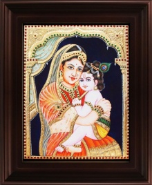 Traditional Indian art title Yasotha Krishna Tanjore Painting on Plywood - Tanjore Paintings