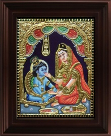 Traditional Indian art title Yashoda Krishna Tanjore Painting on Plywood - Tanjore Paintings