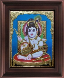 Myangadi Tanjore | Tanjore Traditional art title Krishna with Butter Pot Tanjore Painting on Plywood | Artist Myangadi Tanjore Gallery | ArtZolo.com