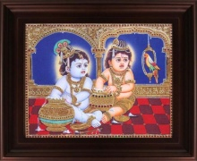 Traditional Indian art title Butter Krishna with Balaram Tanjore on Plywood - Tanjore Paintings