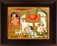 Traditional Indian art title Krishna with Cow Tanjore Painting on Plywood - Tanjore Paintings