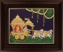 Traditional Indian art title Chariot Krishna with Arjuna Tanjore on Plywood - Tanjore Paintings
