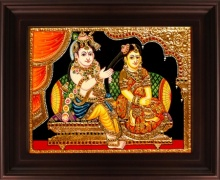 Traditional Indian art title Jada Krishna Tanjore Painting on Plywood - Tanjore Paintings