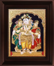 Traditional Indian art title Krishna Bama Rukmani Tanjore on Plywood - Tanjore Paintings