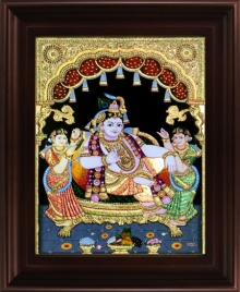 Traditional Indian art title Durbar Krishna Tanjore Painting on Plywood - Tanjore Paintings
