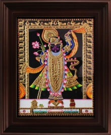 Traditional Indian art title Srinathji Tanjore Painting on Plywood - Tanjore Paintings