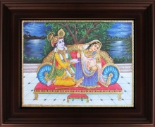 Traditional Indian art title Radha Krishna Tanjore Painting 4 on Plywood - Tanjore Paintings