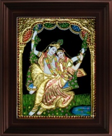 Traditional Indian art title Swinging Radha Krishna Tanjore 2 on Plywood - Tanjore Paintings