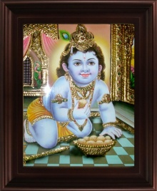Traditional Indian art title Naval Krishna Tanjore Painting on Plywood - Tanjore Paintings