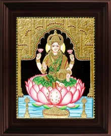 Traditional Indian art title Dhana Lakshmi Tanjore Painting 1 on Plywood - Tanjore Paintings