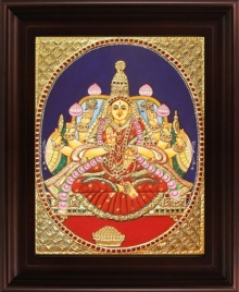 Traditional Indian art title Dhana Lakshmi Tanjore Painting 3 on Plywood - Tanjore Paintings