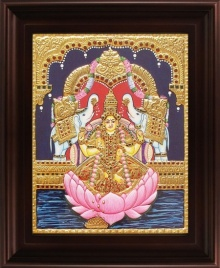 Traditional Indian art title Gaja Lakshmi Tanjore Painting on Plywood - Tanjore Paintings