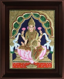 Traditional Indian art title Gaja Lakshmi Tanjore Painting 2 on Plywood - Tanjore Paintings