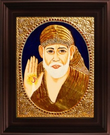 Traditional Indian art title Shirdi Sai Baba Tanjore Painting on Plywood - Tanjore Paintings