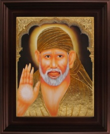 Traditional Indian art title Shirdi Sai Baba Tanjore Painting 2 on Plywood - Tanjore Paintings
