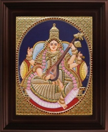 Traditional Indian art title Saraswathi Oval Tanjore Painting on Plywood - Tanjore Paintings