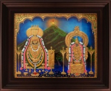 Traditional Indian art title Annamalaiyar Unnamulaiamman Tanjore on Plywood - Tanjore Paintings