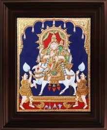 Traditional Indian art title Shiv Parvathi Tanjore Painting on Plywood - Tanjore Paintings