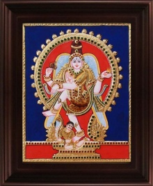 Traditional Indian art title Natarajar Tanjore Painting on Plywood - Tanjore Paintings