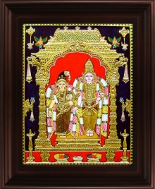 Traditional Indian art title Vishnu Andal Tanjore Painting on Plywood - Tanjore Paintings