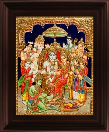 Traditional Indian art title Ramar Pattabishekam Tanjore Painting on Plywood - Tanjore Paintings