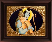 Traditional Indian art title Rama Hanuman Tanjore Painting on Plywood - Tanjore Paintings