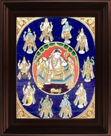 Traditional Indian art title Dasavatharam Tanjore Painting on Plywood - Tanjore Paintings
