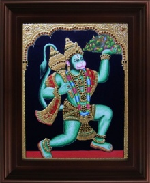 Traditional Indian art title Hanuman Sanjeevi Malai Tanjore on Plywood - Tanjore Paintings