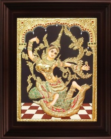 Traditional Indian art title Indonesian Sita Green Tanjore Painting on Plywood - Tanjore Paintings