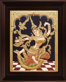 Myangadi Tanjore | Tanjore Traditional art title Indonesian Sita Red Tanjore Painting on Plywood | Artist Myangadi Tanjore Gallery | ArtZolo.com