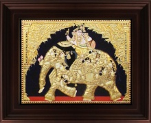 Traditional Indian art title Iyaravatham Tanjore Painting on Plywood - Tanjore Paintings