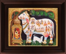 Traditional Indian art title Kamadhenu White Tanjore Painting on Plywood - Tanjore Paintings