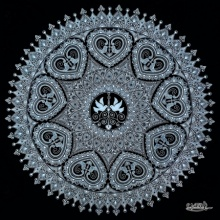 Animals Pen-ink Art Drawing title 'Black Heart In Mandala' by artist V Pugalenthi