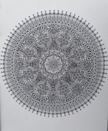 Pen-ink Paintings | Drawing title Butterfly Mandala on Paper | Artist V Pugalenthi