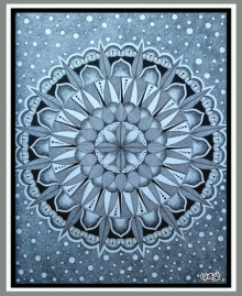 pattern Pen-ink Art Drawing title Pointillism Mandala by artist V Pugalenthi