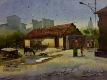 Sohel Sayyad | Watercolor Painting title Beauty of village on Watercolour on paper | Artist Sohel Sayyad Gallery | ArtZolo.com