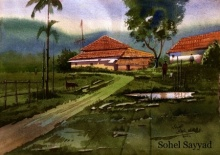 Landscape Watercolor Art Painting title 'Beauty of village' by artist Sohel Sayyad