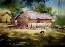 Beauty of village | Painting by artist Sohel Sayyad | watercolor | paper