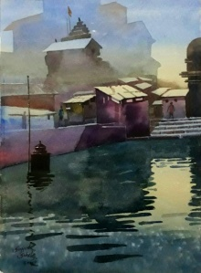 Sohel Sayyad | Watercolor Painting title Beauty of village on paper | Artist Sohel Sayyad Gallery | ArtZolo.com