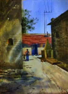Sohel Sayyad | Watercolor Painting title Village 2 on Paper | Artist Sohel Sayyad Gallery | ArtZolo.com