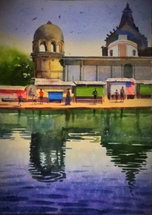 Sohel Sayyad | Watercolor Painting title Village 4 on Paper | Artist Sohel Sayyad Gallery | ArtZolo.com
