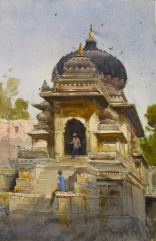 Bhargavkumar Kulkarni | Watercolor Painting title Maheshwar on Paper | Artist Bhargavkumar Kulkarni Gallery | ArtZolo.com