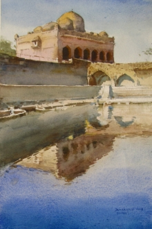 Landscape Watercolor Art Painting title 'Mandu' by artist Bhargavkumar Kulkarni
