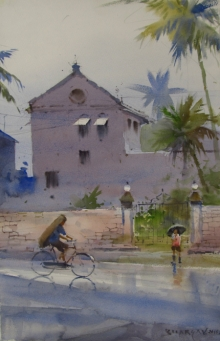 Landscape Watercolor Art Painting title 'Monsoon 3' by artist Bhargavkumar Kulkarni
