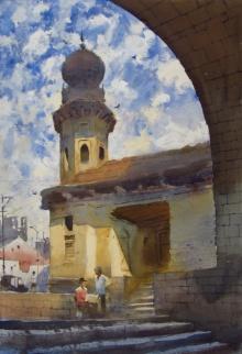 Bhargavkumar Kulkarni | Watercolor Painting title Taj Bawadi Vijapur on Paper | Artist Bhargavkumar Kulkarni Gallery | ArtZolo.com