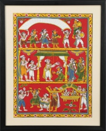 Traditional Indian art title Marriage scene on Cloth - Cheriyal Paintings