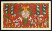Traditional Indian art title Two headed bird on Cloth - Cheriyal Paintings