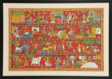 Traditional Indian art title Village scene on Cloth - Cheriyal Paintings